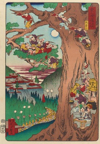 An image of Tengu preparing food in the hollow tree by Kawanabe Kyōsai
