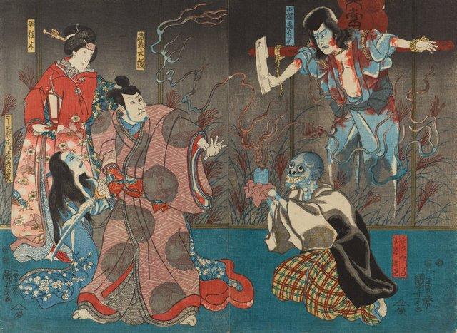 An image of The actors Ichikawa Kodanji IV as the ghost of Kozakura Tôgô and as the tea server Inba, actually the ghost of Tôgô (R), Bandô Hikosaburô IV as Orikoshi Tairyô, Iwai Kumesaburô III as the secret mistress Katsuragi, and Ichikawa Kodanji IV as Koshimoto Sakuragi, actually the ghost of Tôgô (L)