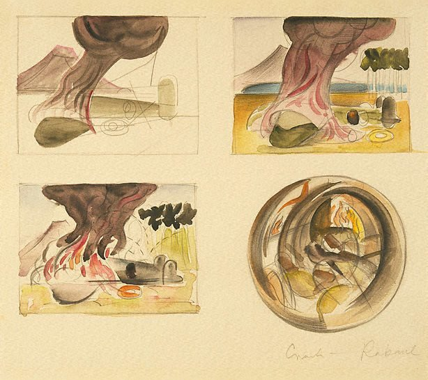 """An image of Four studies for """"Bomber crash"""""""