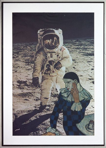 An image of The astronaut is discovered by a dreaming pierrot by Martin Sharp