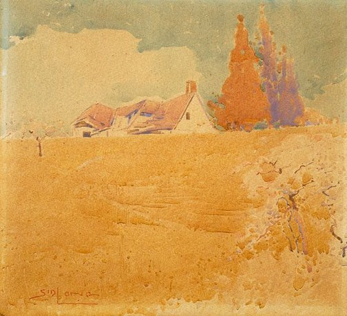 An image of Farmhouse and cypresses by Sydney Long