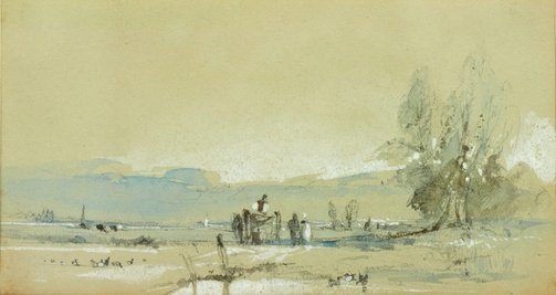 An image of Scene in Normandy (Landscape) by attrib. Richard Parkes Bonington
