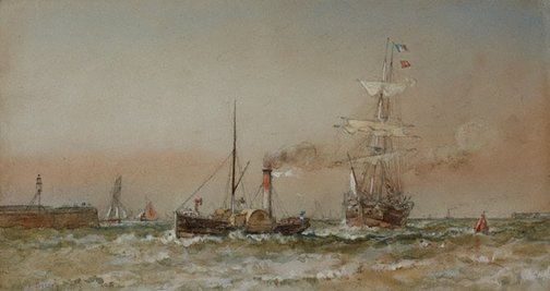 An image of Tug bringing vessel into Ramsgate by Sir Oswald Brierly