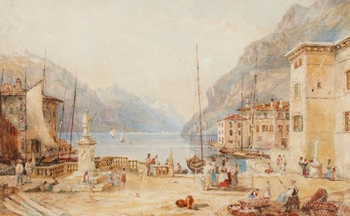 An image of Town by a lake by Constance Davidson