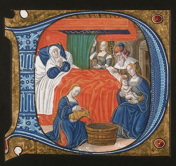 An image of The naming of John the Baptist: illuminated initial D