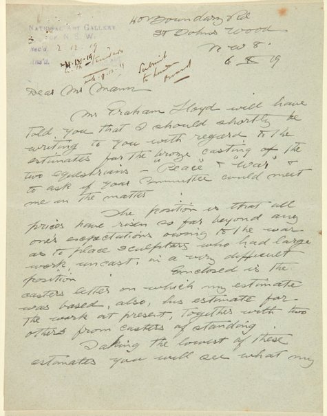 An image of Letter from Gilbert Bayes to Gother Mann by Gilbert Bayes PRBS