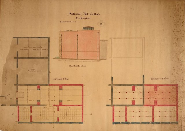 An image of Architectural plan for National Art Gallery of New South Wales extensions, showing south elevation, ground and basement plan