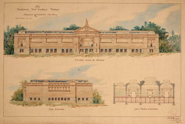 An image of Architectural plan for the National Art Gallery of New South Wales showing proposed completed building, with elevation towards the harbour, side elevation and a cross section of galleries