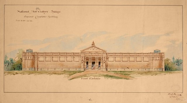 An image of Architectural plan of the front elevation of the proposed completed building of the National Art Gallery of New South Wales