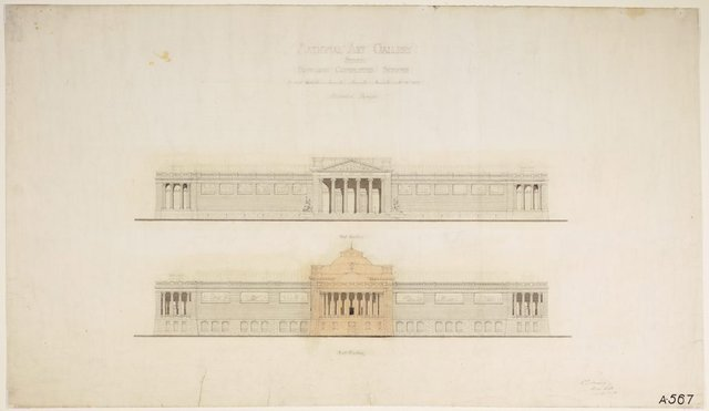 An image of Architectural plan for the National Art Gallery of New South Wales proposed completed scheme, alternate design, showing west and east elevations