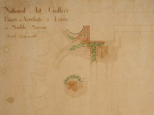 Alternate image of Architectural plan for the marble mosaic floors of the vestibule and lobby of the National Art Gallery of New South Wales by Walter Vernon