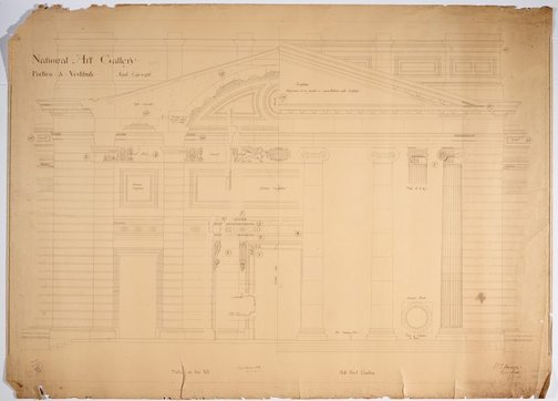 An image of Architectural plan for the portico and vestibule of the National Art Gallery of New South Wales by Walter Vernon