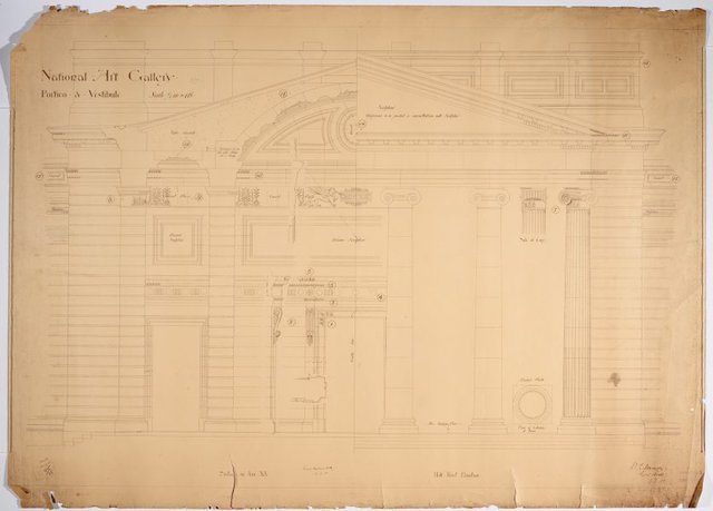 An image of Architectural plan for the portico and vestibule of the National Art Gallery of New South Wales