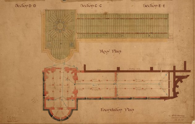 Alternate image of Architectural plan for north-west extension of the National Art Gallery of New South Wales by Walter Vernon