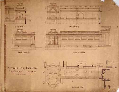 An image of Architectural plan for the north-west extension of the National Art Gallery of New South Wales by Walter Vernon