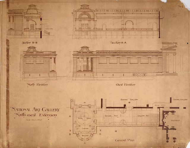 An image of Architectural plan for the north-west extension of the National Art Gallery of New South Wales