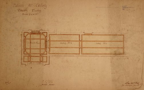 An image of Architectural plan for the parquetry flooring ofthe  Board Room and Galleries 1 and 2 of the National Art Gallery of New South Wales by George McRae