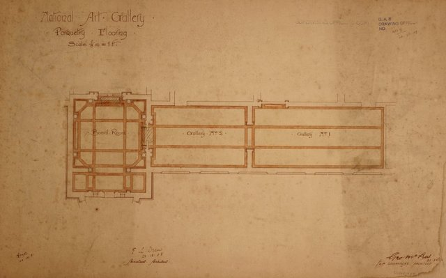 An image of Architectural plan for the parquetry flooring ofthe  Board Room and Galleries 1 and 2 of the National Art Gallery of New South Wales