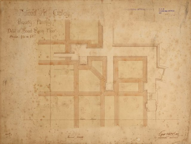 An image of Architectural plan for the parquetry flooring of the Board Room of the National Art Gallery of New South Wales