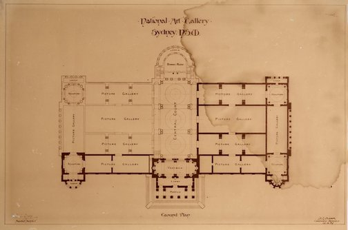 An image of Architectural floor plan of the National Art Gallery of New South Wales, showing completed portions and proposed additional galleries, central court, board room and loggia by Walter Vernon