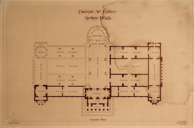 An image of Architectural floor plan of the National Art Gallery of New South Wales, showing completed portions and proposed additional galleries, central court, board room and loggia