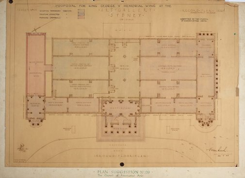 An image of Architectural plan for the King George V Memorial Wing at the National Art Gallery of New South Wales by Edwin Smith
