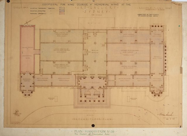 An image of Architectural plan for the King George V Memorial Wing at the National Art Gallery of New South Wales