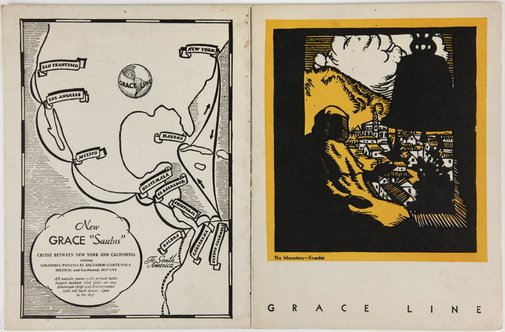 An image of Dinner menu from the M. S. Santa Maria by Margaret Preston