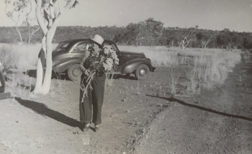 An image of Margaret Preston with gum blossoms, Oenpelli, Northern Territory by Unknown
