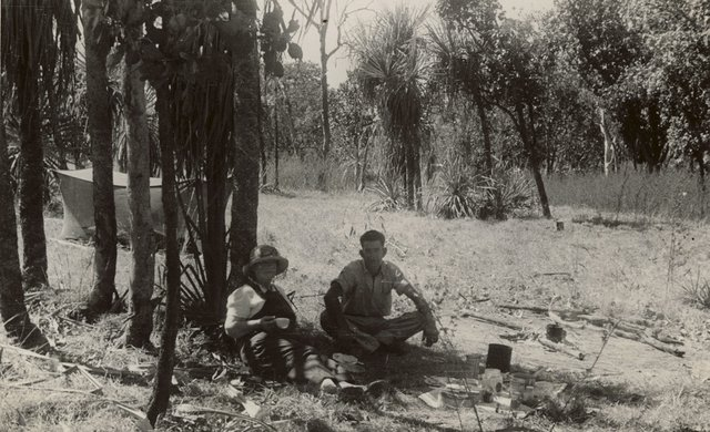 An image of Margaret and William Preston, Daly River Camp, Northern Territory