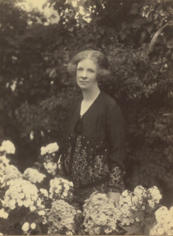 An image of Margaret Preston in her garden at Mosman