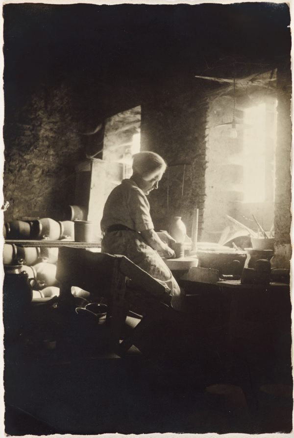 An image of Anne Dangar at work in the studio