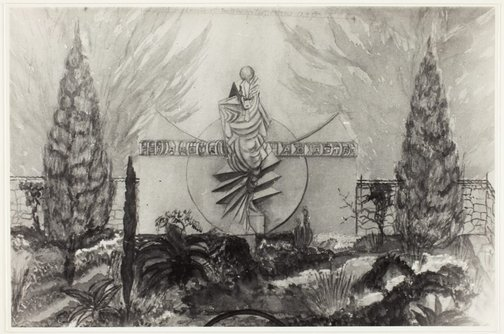 An image of Image of watercolour sketch by Eleonore Lange showing 'Seraph of light', a proposed memorial to Walter Duffield in a landscaped setting by Eleonore Lange