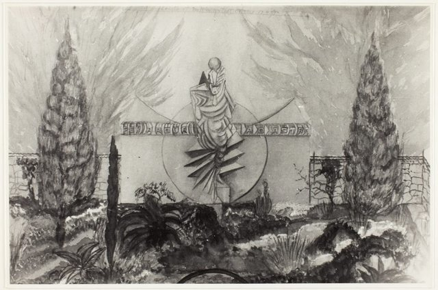 An image of Image of watercolour sketch by Eleonore Lange showing 'Seraph of light', a proposed memorial to Walter Duffield in a landscaped setting