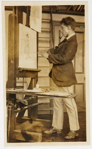 An image of Weaver Hawkins painting at his easel by Unknown
