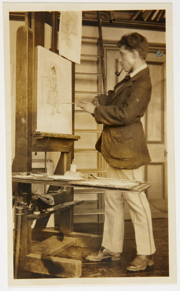 An image of Weaver Hawkins painting at his easel