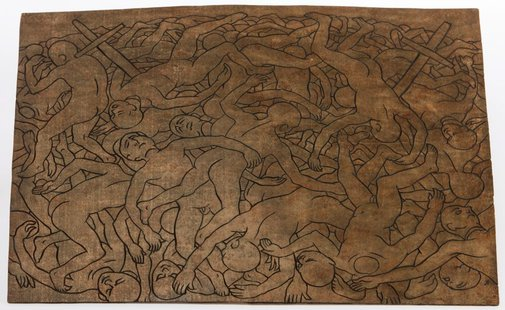 An image of Linocut printing block to 'The innocents' 1968 by Weaver Hawkins