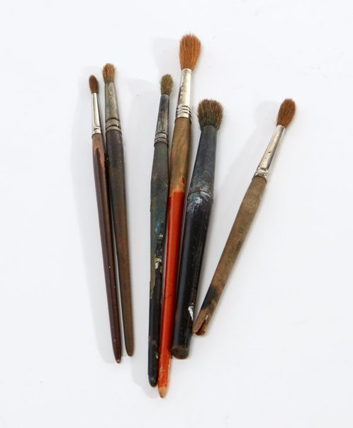 An image of Weaver Hawkins' watercolour brushes by Unknown