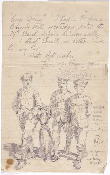 An image of Mother with her three khaki boys by one of 'em by Weaver Hawkins