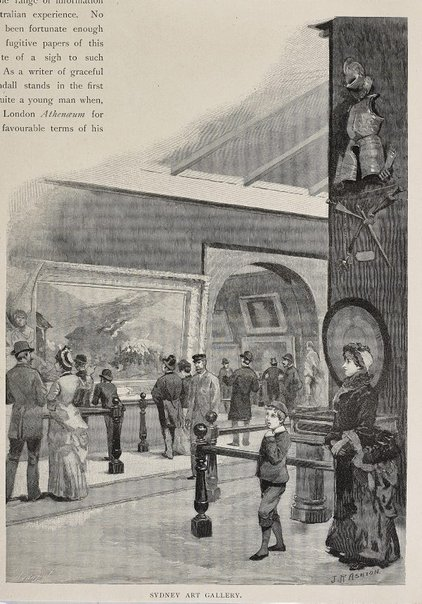 An image of Historical interior view of court 4 of the National Art Gallery of New South Wales by Julian Ashton