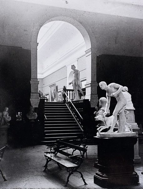 An image of Historical interior view from basement court 3 up into court 9 of the National Art Gallery of New South Wales by Unknown