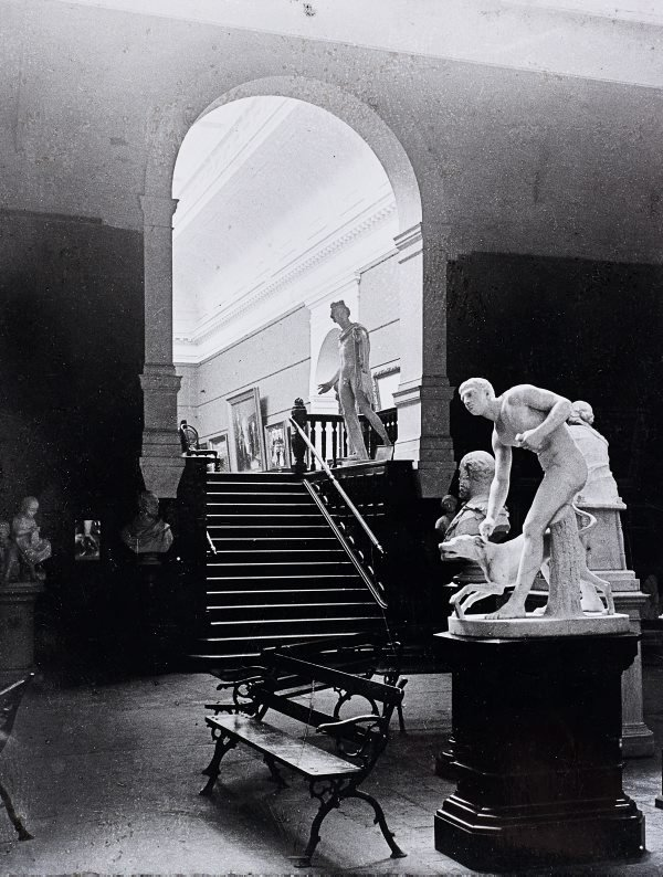 An image of Historical inteiror view from court 3 up into the entrance foyer and court 9 of the National Art Gallery of New South Wales
