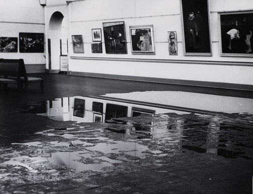 An image of Historical interior view of a flood in court 3 of the National Art Gallery of New South Wales by Unknown