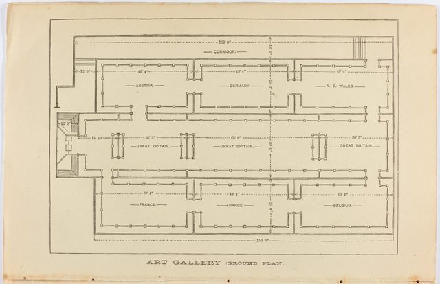 An image of Architectural floor plan of the Fine Arts Annexe to the Sydney International exhibition