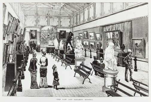 An image of Historical interior artist's impression of the central court of the National Art Gallery of New South Wales by Unknown