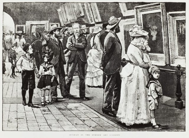 An image of Historical interior view of Sunday visitors to the National Art Gallery of New South Wales