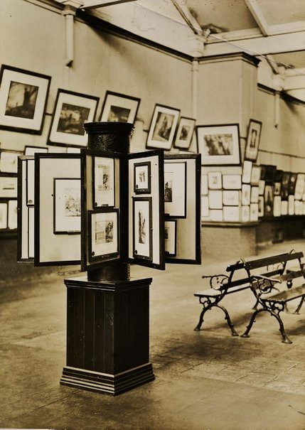 An image of Historical interior view of the basement galleries, courts 3 and 4, of the National Art Gallery of New South Wales by Unknown
