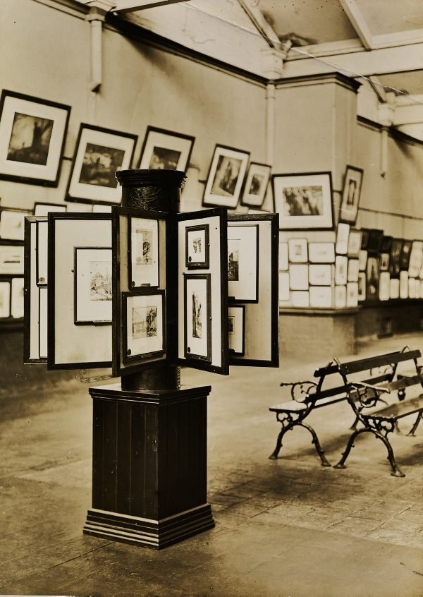 An image of Historical interior view of the basement galleries, courts 3 and 4, of the National Art Gallery of New South Wales