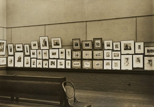 An image of Historical interior view of the basement gallery, court 3 and 4, of the National Art Gallery of New South Wales by Unknown