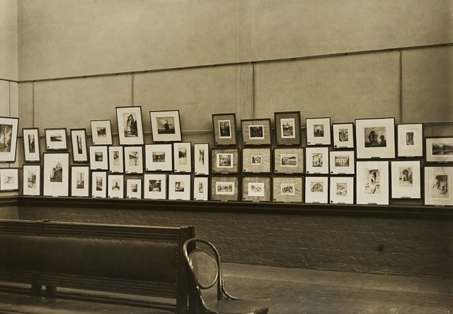 An image of Historical interior view of the basement gallery, court 3 and 4, of the National Art Gallery of New South Wales